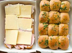 Party guests will fall head-over-heels for these monte cristo-stuffed cheesy sliders!---Simple to throw together at a moment's notice and unbelievably fun to eat! Lunch Ideas For Guests, Herb Butter, Garlic Butter, Turkey Lunch Meat, The Recipe Rebel, Bbq Bacon, Slider Recipes, Baked Ham, Wrap Sandwiches
