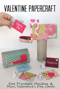 Send the sweetest love notes with this Valentine papercraft set featuring a free printable mailbox and mini Valentine's Day cards. It's an easy Valentine craft that can be used to hold sweets or just sweet sentiments! Fun DIY kids Valentine craft. Perfect size for American Girl dolls.