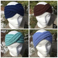 Twist knit headband featured in five new shades: green, light blue navy blue, brown and pink. Material: worsted weight yarn Order Includes: One headband in colour of your choice Hand wash in lukewarm water and lay flat to dry See more and like my facebook page for regular updates and more for sale projects! https://www.facebook.com/pages/Bits-of-This-and-That/426714764151836?fref=nf or follow me on Instagram https://www.instagram.com/bitsofthisan...
