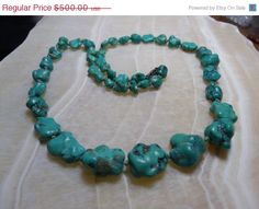 Natural Hachita Turquoise Vintage Necklace by GTJewelry on Etsy