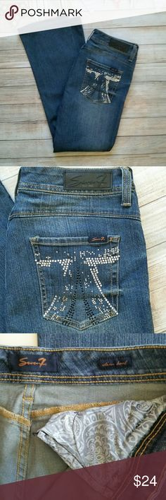 """Seven 7 Embellished Bootcut Jeans Excellent condition. Slim boot style with studded pockets. 29.5"""" inseam. Seven7 Jeans Boot Cut"""