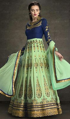 Daunt elegantly at the drop of a hat draping this green and blue color georgette Anarkali suit. The lovely lace, resham and stones work a intensive attribute of this attire.