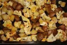Maple Syrup Roasted Potatoes and Cauliflower 1 head of cauliflower chopped small 4 potatoes any type washed and quartered 2 tablespoons of vegetable oil 3 tablespoons of Maple syrup grade B is best. 1/4 teaspoon of Turmeric 1/4 teaspoon of Cinnamon 1/4 teaspoon of cayenne pepper salt and pepper to taste Toss everything in a large rectangular baking dish. Roast for approximately 20 minutes at 425 deg until potatoes are tender and cauliflower is slightly brown.