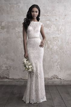 Shop the breathtaking Madison James Sequined Lace Sheath Wedding Dress today! Feather-like lace creates a stylish tiered effect in this elegant sheath wedding dress. Boho Wedding Dress With Sleeves, Classic Wedding Dress, Girls Dresses Uk, Dress Flower, Bridal Dresses, Bridesmaid Dresses, Sheath Wedding Gown, Wedding Dress Pictures, Bridal Lace