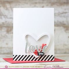 Easy Love Shaker Card! Heart Throb Shaker Card Kit, Heart Card, Heart Toppings, Washi Tape, Black and Red, Love and Heart Die, Laurie Willison