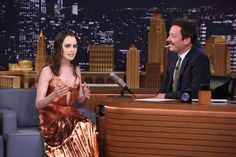 Lily Collins in Christian Siriano on The Tonight Show Starring Jimmy Fallon