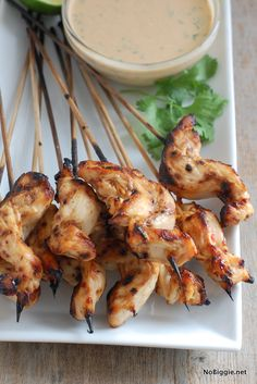 chicken satay with a peanut dipping sauce - recipe on NoBiggie.net