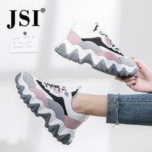 JSI fashion new ladies sneakers round toe lace-up breathable mesh flat shoes spring and autumn fashion thick bottom sneakers New Sneakers, Air Max Sneakers, Sneakers Nike, Ladies Sneakers, Color Caramelo, Spring Shoes, Nike Huarache, Cleats, Nike Air Max