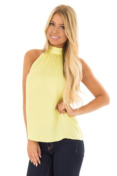 44f77a0f4c7ac5 Lime Lush Boutique - Sunshine Yellow Flowy High Neck Tank Top with Tie  Detail