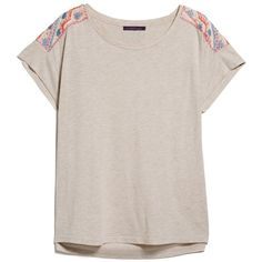 Violeta BY MANGO Beaded Embroidery T-Shirt ($30) ❤ liked on Polyvore featuring tops, t-shirts, shirts, embellished t shirts, pink t shirt, pink tee, embroidered t shirts and cap sleeve shirt