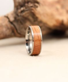 Wooden Ring With Bourbon Barrel American White by WedgewoodRings