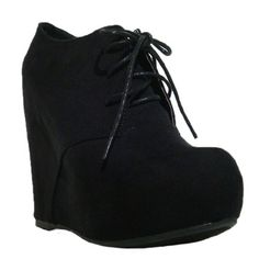 $28.90 Women's Qupid Black Suede Lace Up High Heels Wedge Bootie (Worthy92A)  From Qupid   Get it here: http://astore.amazon.com/ffiilliipp-20/detail/B009Q9R8X8/176-4528734-8806923
