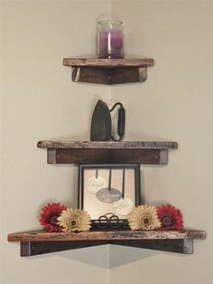 "Set of Three: 12"", 18"" and 24"" Rustic, Floating Wood Corner Shelf, Solid Pine, Antique, speakers, tv"