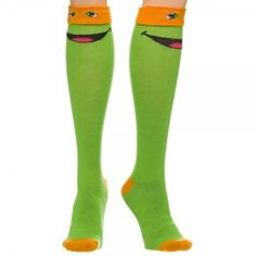 91b4b6c15aa Teenage Mutant Ninja Turtles TMNT Michelangelo Orange Mask Knee High Socks  New