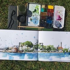 Doing a little sketching this morning. First sketch of the day. I am long overdue for a visit to #cockatooisland but nice to sketch it from the harbour shoreline. Heading for a scorcher today but the harbour breeze is very pleasant.