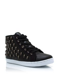 Skull Studded Faux Leather Sneakers $29.95