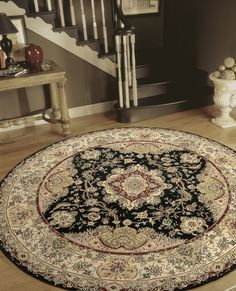 Like an ancient mandala, the concentric effect of this traditional Persian pattern draws you into a contemplative mood. Ruby reds contrasted with rich ebony and golden beige sparkle within the delicate, expanding framework of borderlines. Persian Pattern, Living Spaces, Living Room, Classic Rugs, Black Rug, Pattern Drawing, Traditional Rugs, Room Colors, Mandala