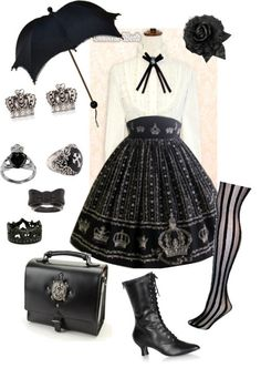 Victorian goth outfit. I would totally wear this.