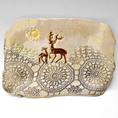 Ceramic Deer Tray by One Clay Bead