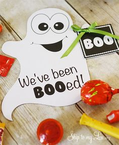 "Free download and print: ""We've been BOOed"" Boo your friends, family, and neighbors this Halloween #halloween #boo skiptomylou.org"