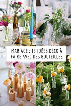 Des DIY mariage à faire avec des bouteiles en verre / diy mariage / mariage champetre / kinfolk wedding