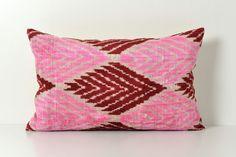 Ikat Silk Velvet Pillow  15x24 Neon Pink Red Handwoven by pillowme, $65.00