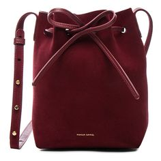 Mansur Gavriel Mini Bucket Bag ($510) ❤ liked on Polyvore featuring bags, handbags, shoulder bags, bolsas, sac, red suede handbag, purse shoulder bag, mini bucket bags, mini handbags and red purse