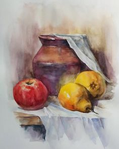Fruit Painting, Gouache Painting, Still Life Drawing, Painting Still Life, Watercolor Illustration, Watercolor Paintings, Watercolor Architecture, Landscape Drawings, Retro Art