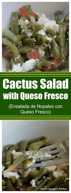 Cactus Salad with Queso Fresco, or Ensalada de Nopales con Queso Fresco, is a traditional Mexican food recipe. It's simple, delicious, and good-for-you too. By Mama Maggie's Kitchen Mexican Food Recipes, Real Food Recipes, Vegetarian Recipes, Healthy Recipes, Salad Recipes, Mexican Dishes, Appetizer Recipes, Yummy Recipes, Appetizers