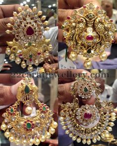 22 carat gold peacock pretty pendant sets in Pachi design. Studded with simple pota rubies and emeralds large round CZ stones. South sea ...