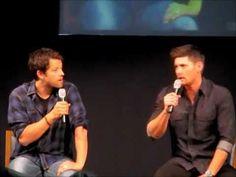 "Part 3 (of 6)  Jensen and Misha Panel  #JIB2013 (I think Jensen's ""apple juice"" was starting to kick in.)"