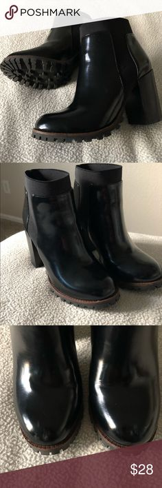 Steve Madden booties, Black,  Size 6 Rain boot type material, waterproof, and sooo easy to walk in! small scuffs on toe(shown in 3rd picture). Steve Madden Shoes Ankle Boots & Booties