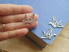 10pcs Silver Origami Crane Charms 29mm (SC3231)