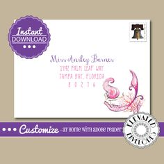 EDITABLE Mermaid ENVELOPE…