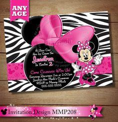 Zebra Minnie Mouse Invitation, Pink Black Zebra Minnie Mouse Invitation, Birthday Invitation