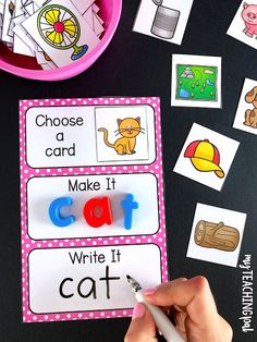 CVC Centers and Activities Volume One CVC Make and Write Mats – Students choose a picture, make the word and then write it. Jolly Phonics, Teaching Phonics, Phonics Activities, Kids Learning Activities, Kindergarten Activities, Writing Activities, Read Write Inc Phonics, Writing Centers, Teaching Resources