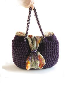 Bag, women accessories,crochet hand bag,chiffon and crochet bag,purple bag by fone on Etsy https://www.etsy.com/listing/117435264/bag-women-accessoriescrochet-hand