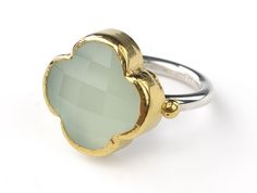 faceted chalcedony flower ring set in 24k gold
