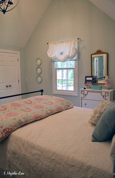 Using white as a base for your bedding gives you so much flexibility with your decorating.  In this aqua and coral pink girl's room, a colorful duvet and throw pillows are changed out seasonally.  The white matelasse coverlet provides a neutral canvas when it's time to update the bedroom decor.  {Sponsored by HomeGoods}