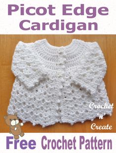 Free baby crochet pattern for picot edge coat, soooooo pretty when made.Free Baby Crochet Pattern-Picot Edge Cardigan UK - A pretty baby cardigan written in UK format, made in a shell design for a 14 inch .Fantastic info are offered on our web pages. Crochet Baby Cardigan Free Pattern, Crochet Baby Sweaters, Crochet Baby Blanket Beginner, Crochet Baby Jacket, Baby Sweater Patterns, Baby Girl Crochet, Crochet Baby Clothes, Crochet For Kids, Baby Patterns