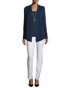 Silk+Organic+Cotton+Open+Cardigan,+Midnight,+Petite+and+Matching+Items+by+Eileen+Fisher+at+Neiman+Marcus.
