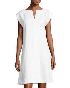 Joanie Split-Neck Shift Dress, White