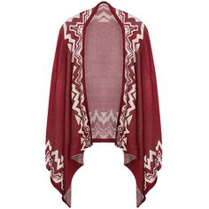 Ruby Ladies Long Sleeve Bohemian Patterned Cardigan Sweater ($30) ❤ liked on Polyvore featuring tops, cardigans, outerwear, sweaters, jackets, casaco, ruby, patterned cardigan, red top and print cardigan