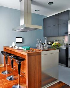 wooden breakfast bar table design with 3 black chair and kitchen ventilation http - Kitchen Bar Table