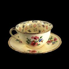 Antique Alfred Meakin Cup of Knowledge Teacup Tea Leaf Reading Fortune Telling Tea Cup Saucer, Tea Cups, Reading Tea Leaves, China Tea Sets, Tea Art, My Cup Of Tea, Chocolate Coffee, Drinking Tea, Tea Time