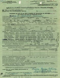 Application for a Certificate of Arrival and Preliminary Form for a Declaration of Intention from the U.S Department of Justice, Immigration and Naturalization Service (INS) of Blandina (Guerrero) Rodriguez. Rodriguez left her home in Cuencame, Durango, Mexico in 1903, crossing the United States-Mexico border by train in El Paso, Texas. Felipe and Blandina (Guerrero) Rodriguez Family Papers.