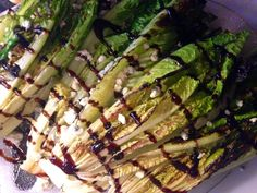 Grilled Romaine with Smoked Blue Cheese and Balsamic Reduction andwhatiate.com #recipes #yum #glutenfree