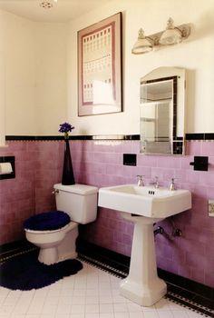 Black tile bathrooms on pinterest 1950s bathroom art for Black white and pink bathroom ideas