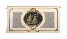 AN ITALIAN PARCEL-GILT, CREAM AND GREY-PAINTED PANEL