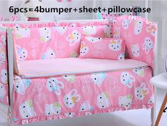 Promotion! 6PCS Hello Kitty Baby crib bedding set 100% cotton cot baby bedclothes (bumpers+sheet+pillow cover)